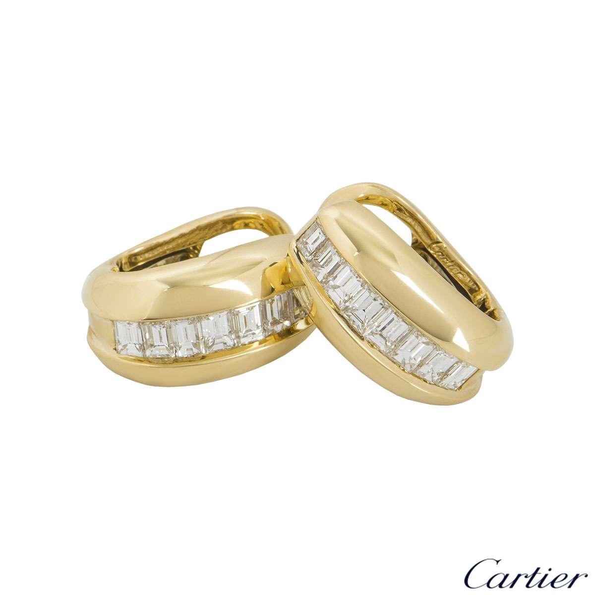 Cartier Yellow Gold Bombe Diamond Earrings